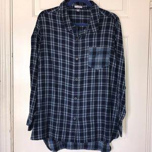 Rebecca Malone Blue Checkered Button Down Shirt